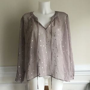 Bisou Bisou grey star semi see-through blouse Sz L